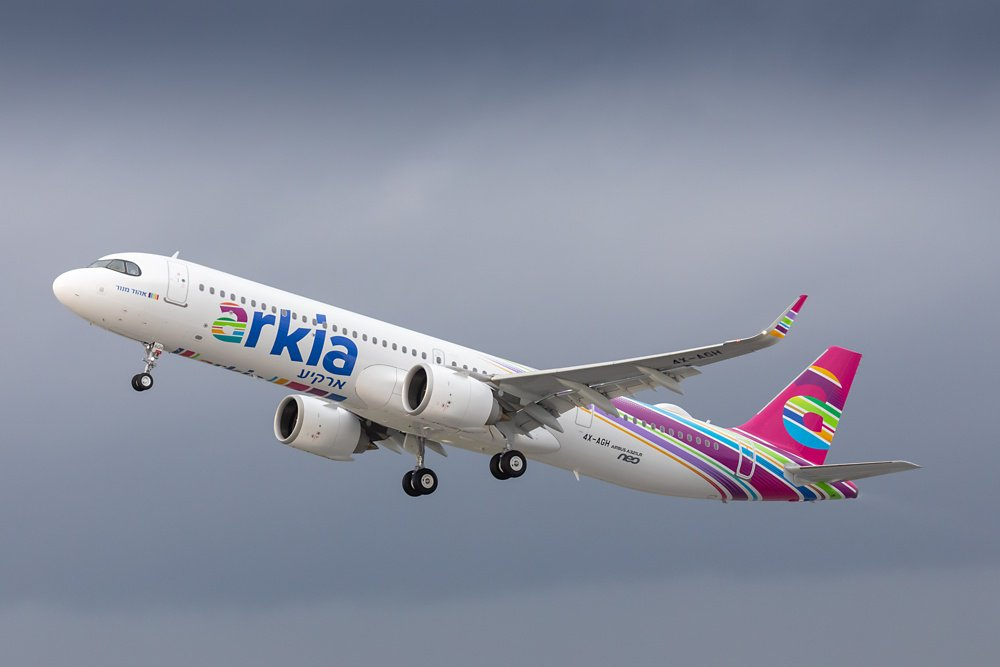 The first-delivered A321LR is shown in flight, which was received by Arkia Israeli Airlines.