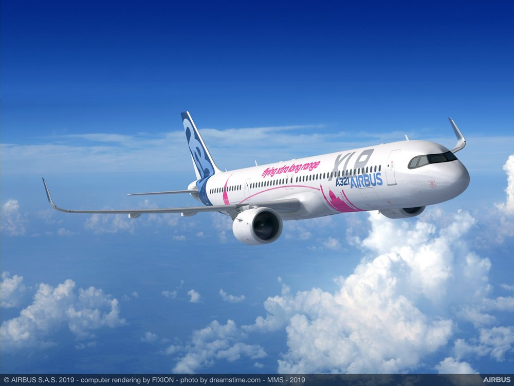 "A computer rendering of Airbus' A321XLR ""Xtra Long Range"" commercial aircraft, which was unveiled at the 2019 Paris Air Show."