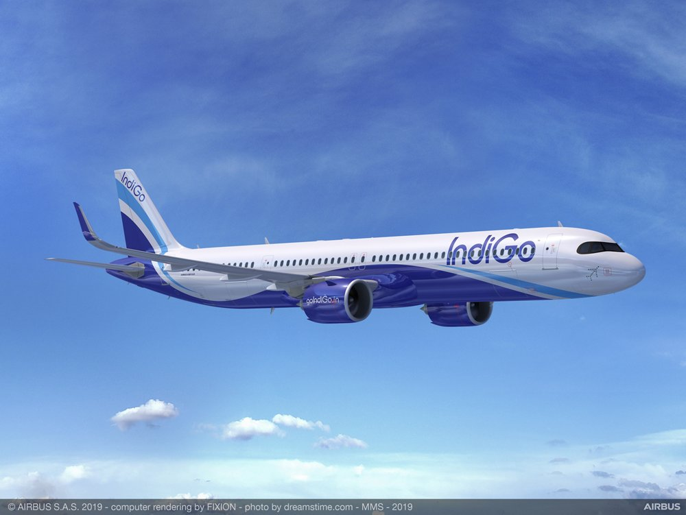 A computer rendering of an A321XLR in the livery of IndiGo, which ordered 300 A320neo-series commercial aircraft from Airbus in 2019.