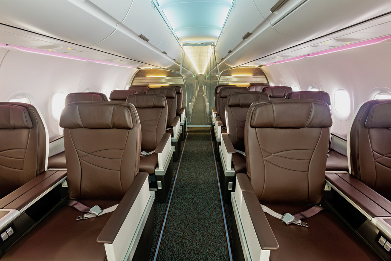 Hawaiian Airlines' new A321neo, its first produced at Airbus' U.S. Manufacturing Facility in Mobile, Alabama, features a comfortable and spacious first class section