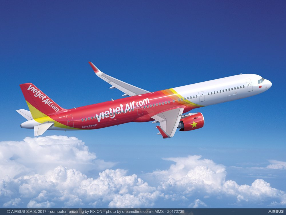 Representation of an Airbus A321 in the livery of VietJet Air.