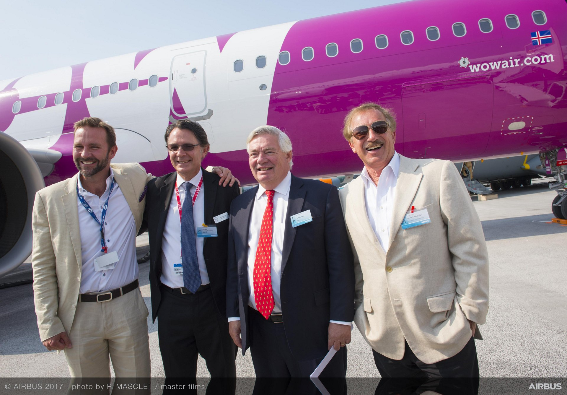 Skuli Mogensen CEO and owner of WOW air, Gael Meheust President and CEO CFM International, John Leahy COO Customers Airbus Commercial aircraft, Steven F. Udvar-Házy Executive Chairman of the board Air Lease Corporation.