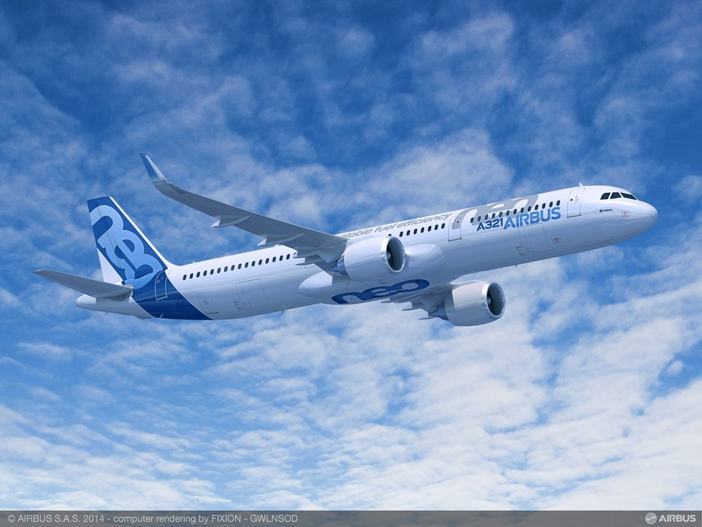 The longest-fuselage member of Airbus' highly efficient A320neo (new engine option) Family is the A321neo, which is equipped with CFM International's LEAP-1A powerplants in this artist's rendering