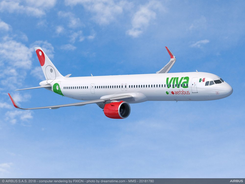 A computer-generated image of an Airbus A320neo in Viva Aerobus' livery.