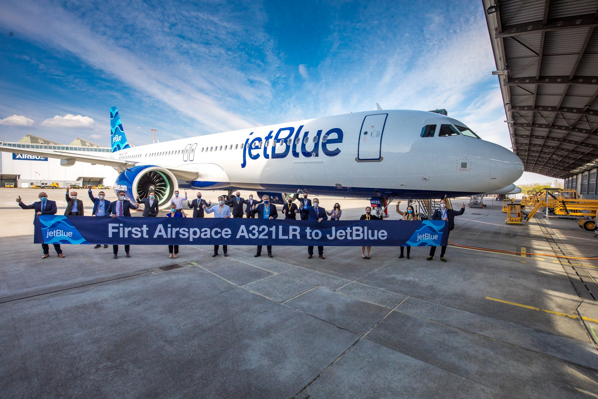 First Airspace JetBlue A321LR in front of the Airbus Delivery Center in Hamburg, Germany