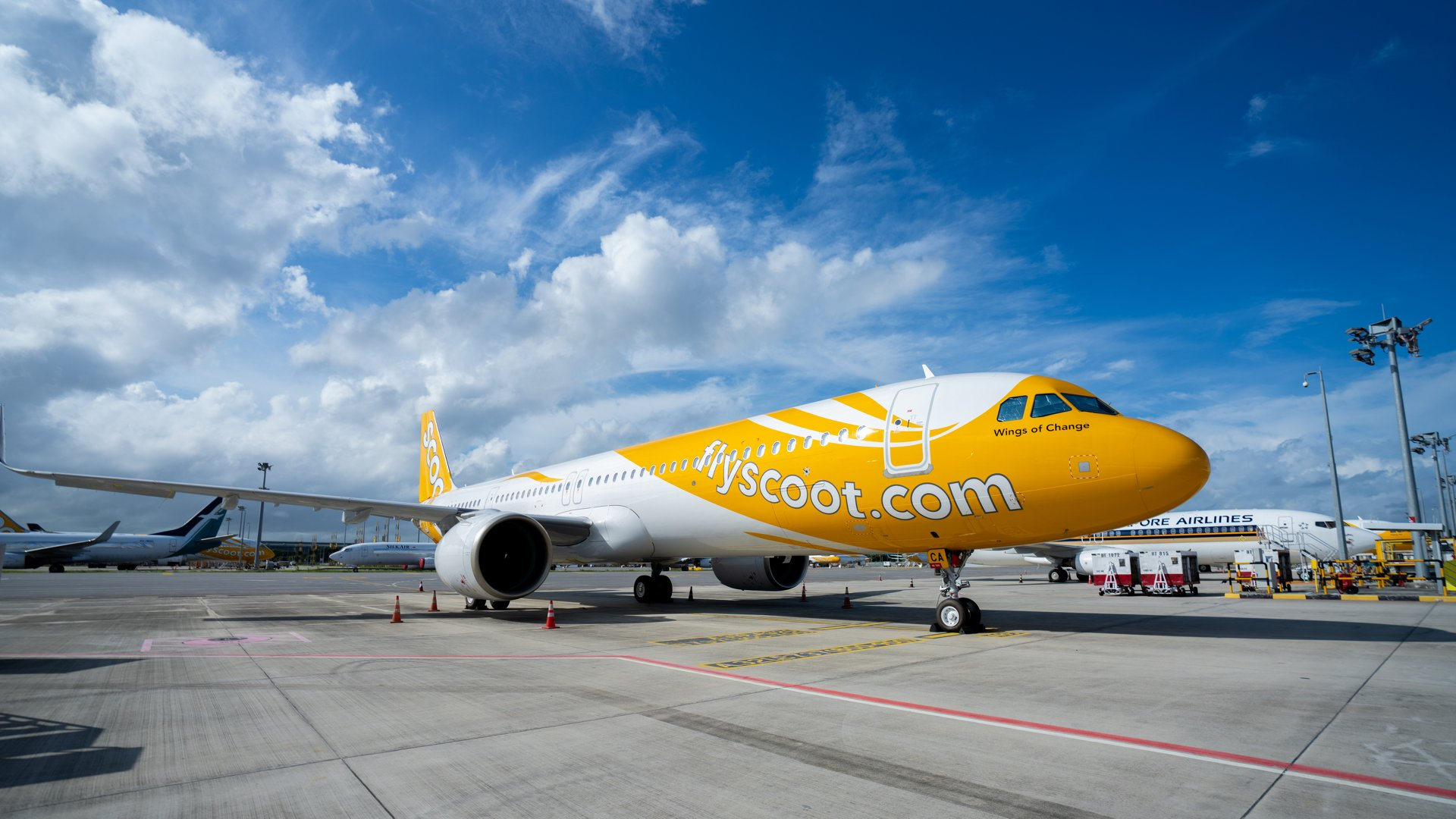 Scoot's first A321neo at Singapore Changi Airport
