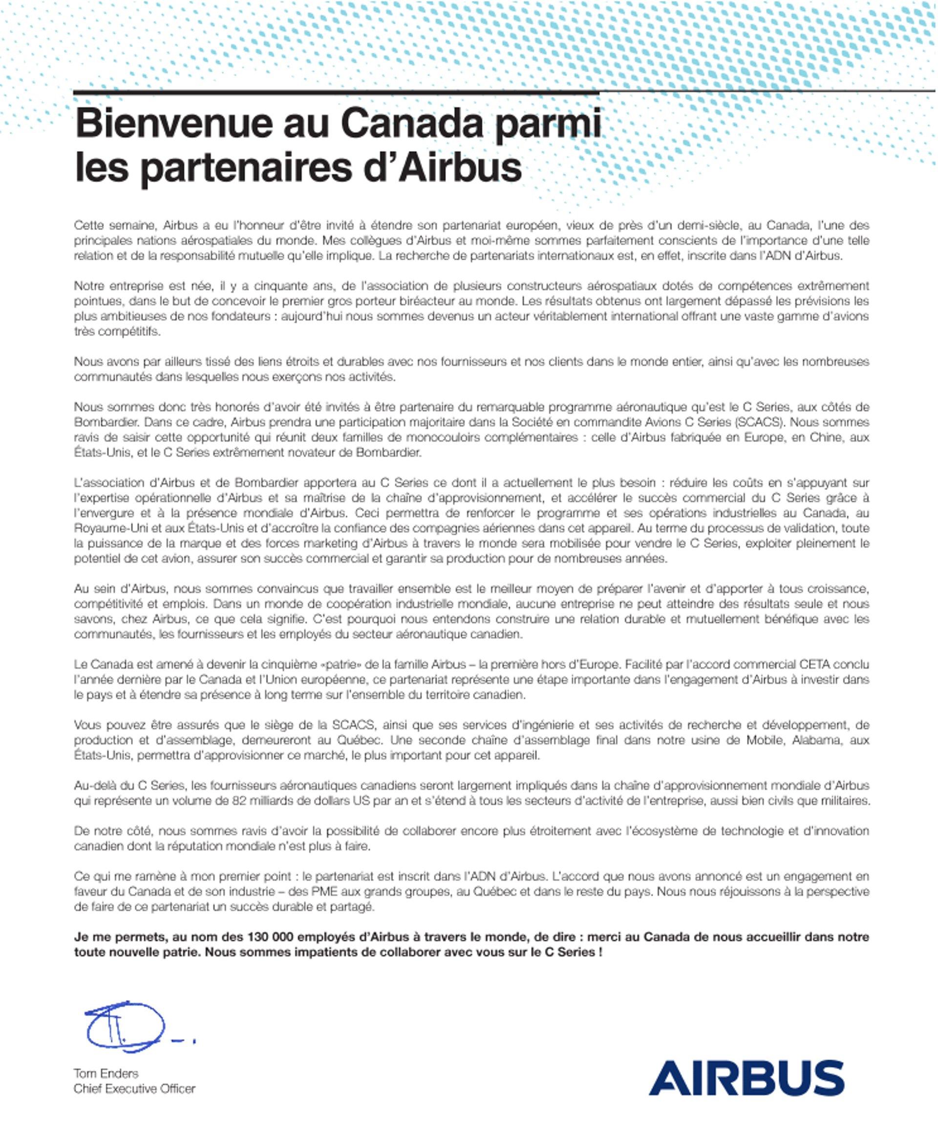 Lettre du CEO d'Airbus Tom Enders : Bienvenue au Canada parmi les partenaires d'Airbus