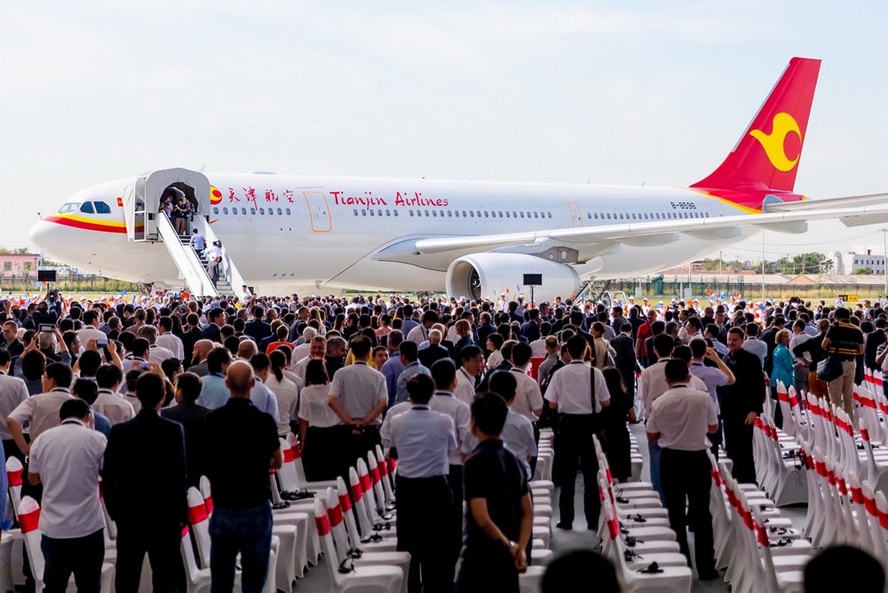 A ceremony marked the first customer aircraft handover from Airbus' new A330 Completion and Delivery Centre at Tianjin, China, with this A330-200 version provided to Tianjin Airlines.