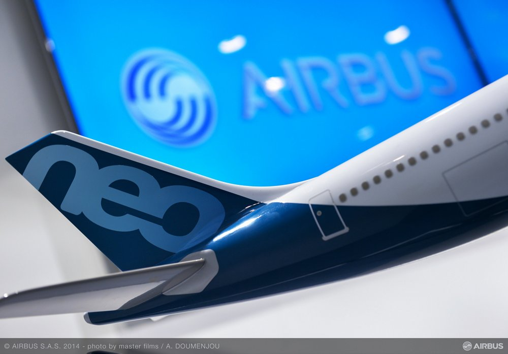 A scale model of the A330neo is displayed during the Farnborough Airshow in July 2014, when Airbus unveiled the widebody aircraft.