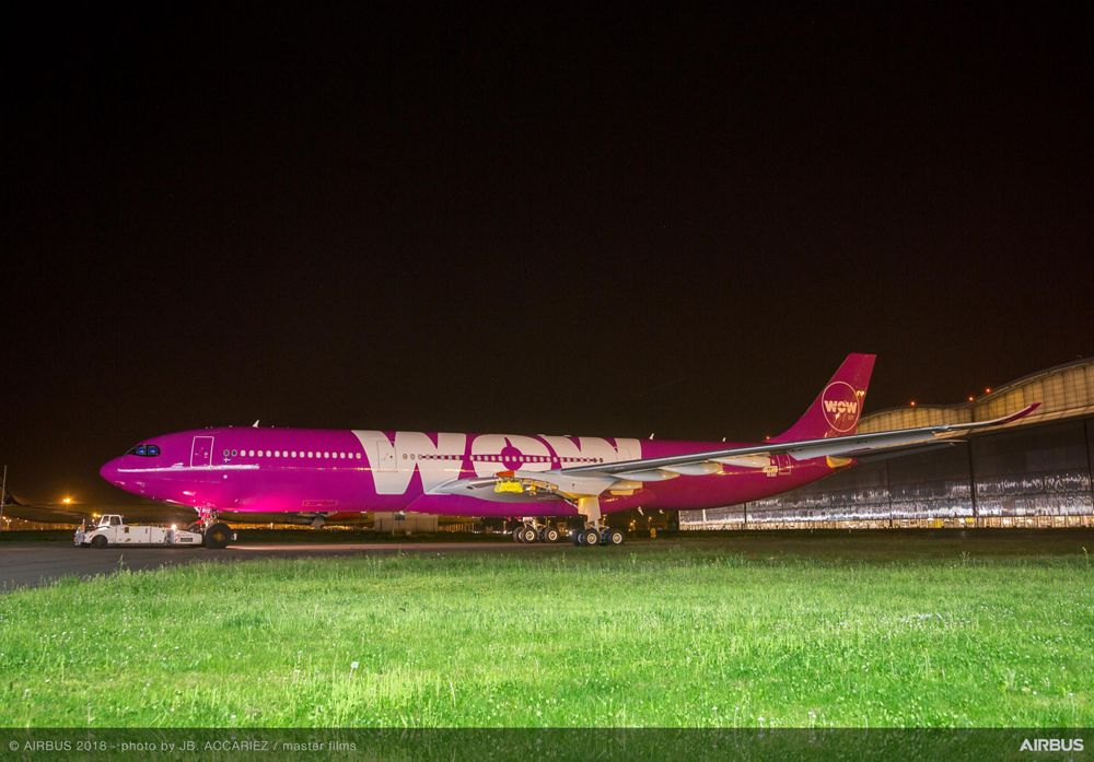WOW air A330neo paint shop rollout