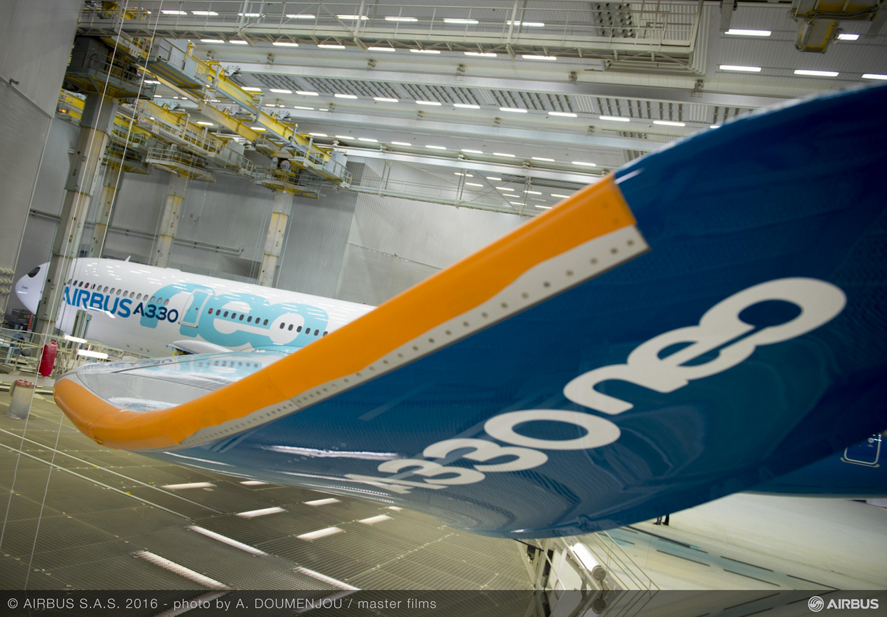The A330neo (new engine option) – shown here inside an Airbus paint shop – is the fastest aircraft development programme ever at Airbus