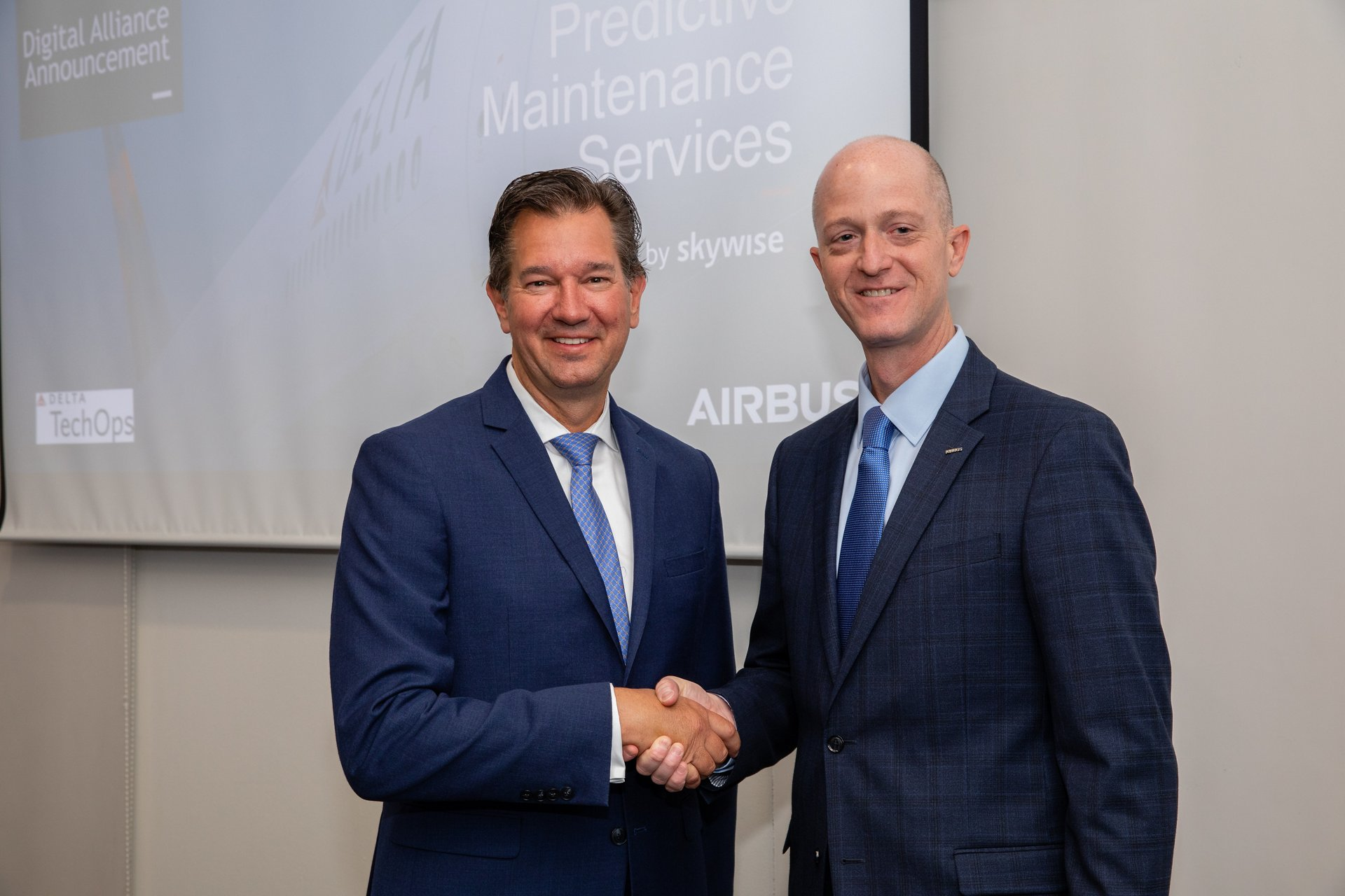 Airbus and Delta Air Lines' digital alliance to develop new predictive maintenance and health-monitoring solutions for airline customers – announced in October 2019 – is marked by Don Mitacek, SVP Technical Operations, Delta Air Lines; and Norman Baker, SVP Digital Solutions, Airbus