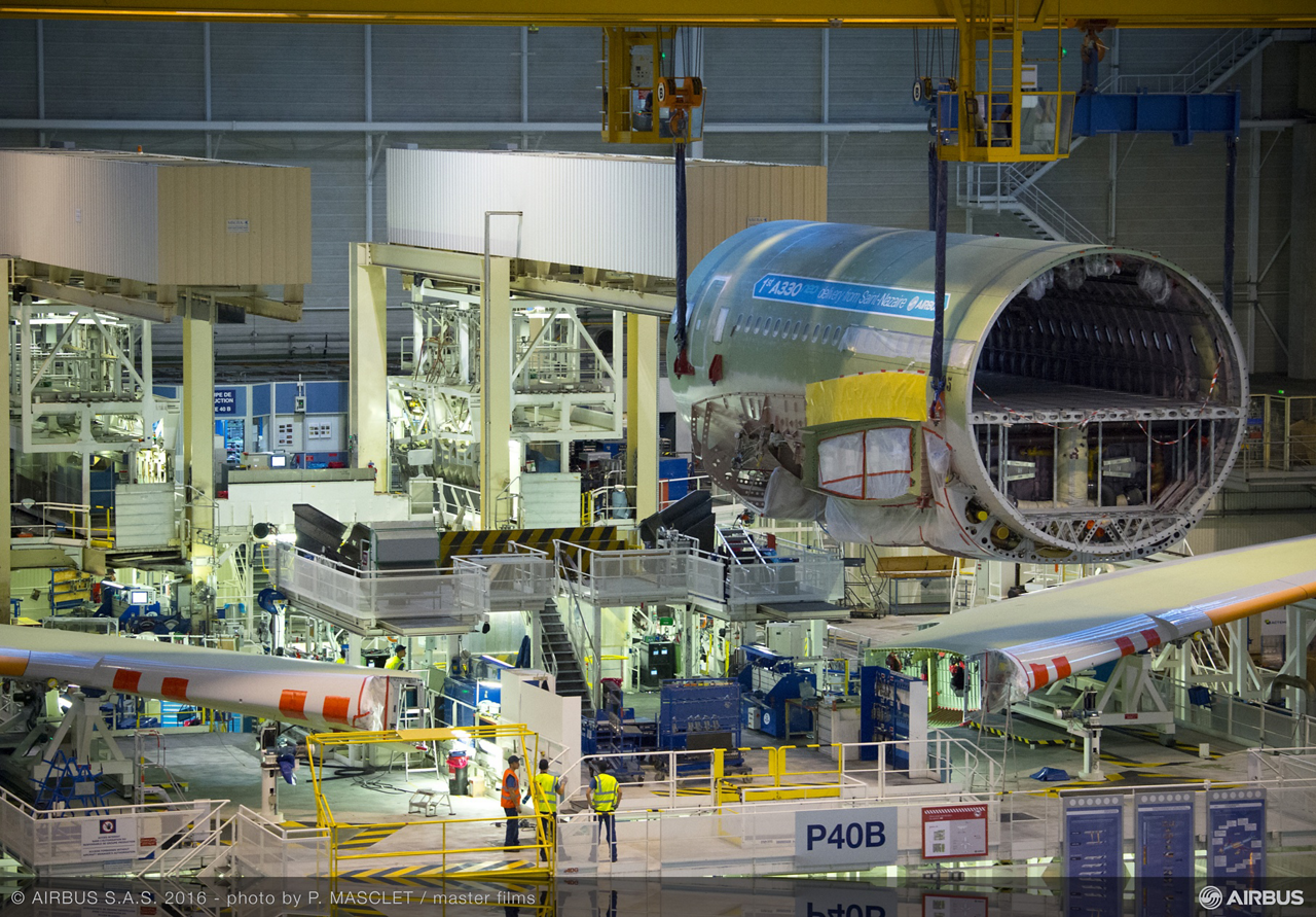 The first A330neo (new engine option), an A330-900 version, starts its final assembly process at Station 40 on Airbus' Toulouse, France final assembly line for the popular and versatile A330 widebody product line
