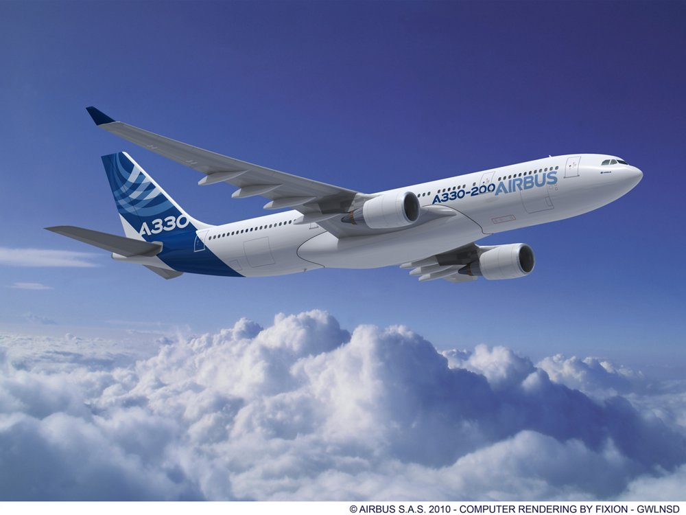 A computer rendering of Airbus' widebody A330-200 with the company's distinctive blue-and-white livery