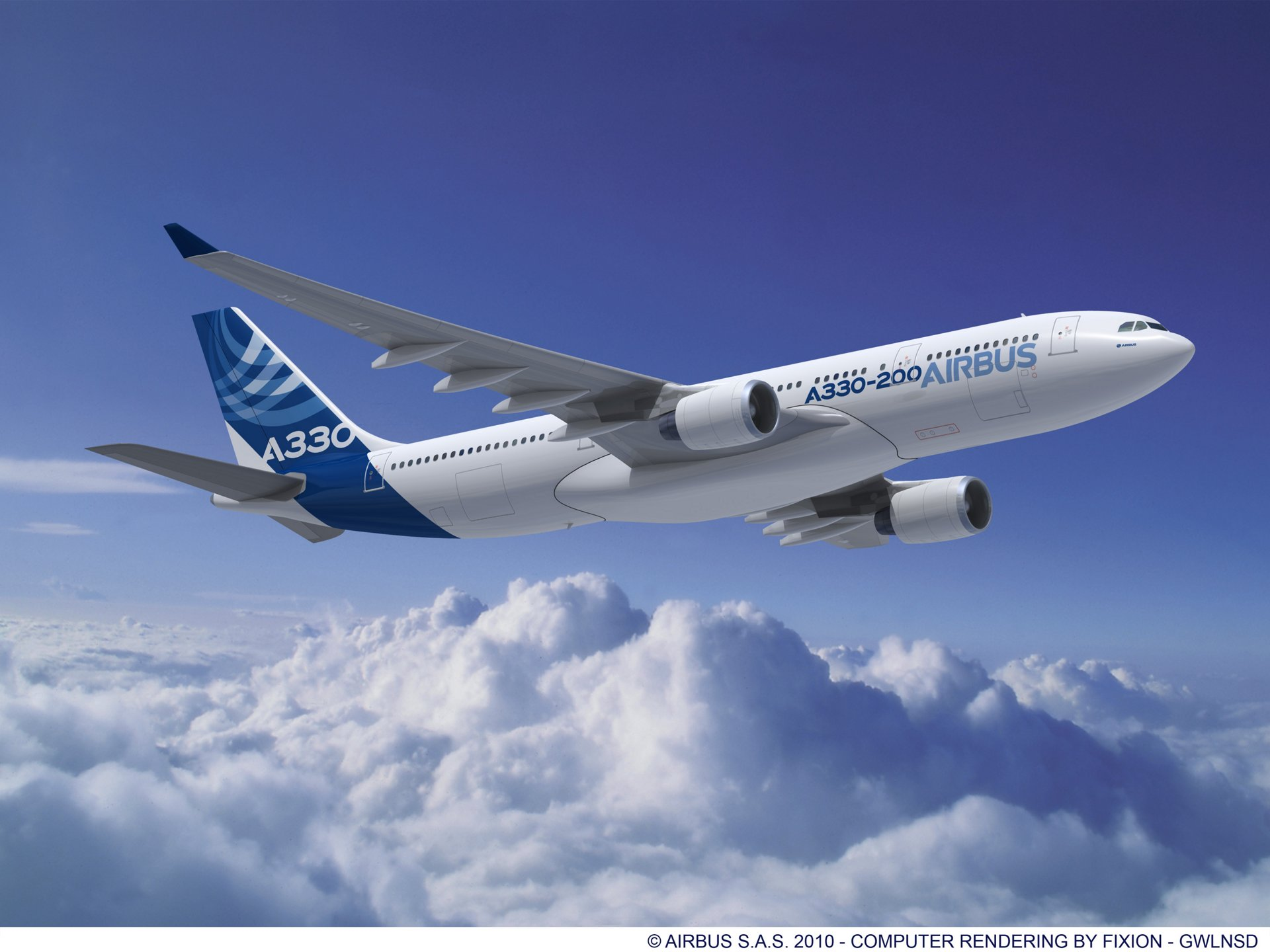 The Airbus A330-200, here with PW engines. The versatile mid-size widebody.