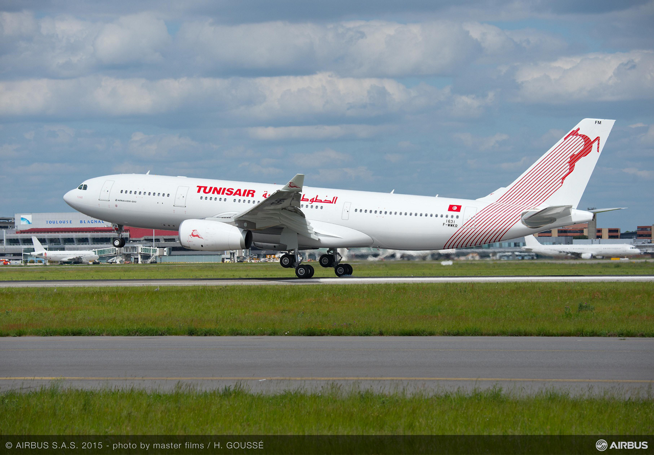 Tunisia's national airline, Tunisair, received its first Airbus A330-200 jetliner – which includes an entirely-new, fully-equipped cabin – on 9 June 2015