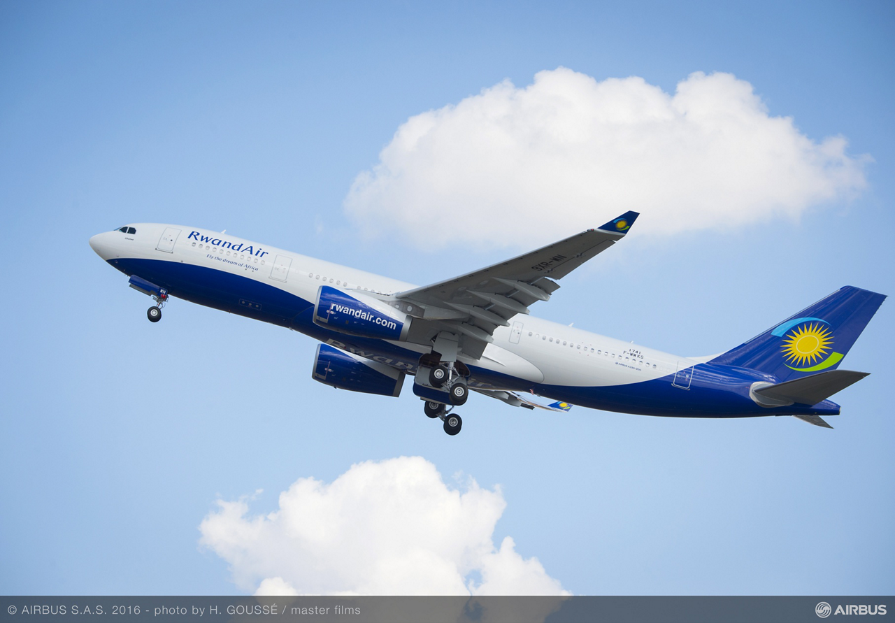 RwandAir's first of two widebody A330 aircraft, received in September 2016, will be deployed on medium- and long-haul routes from the operator's Kigali home base to destinations throughout Europe, Asia and the Middle-East