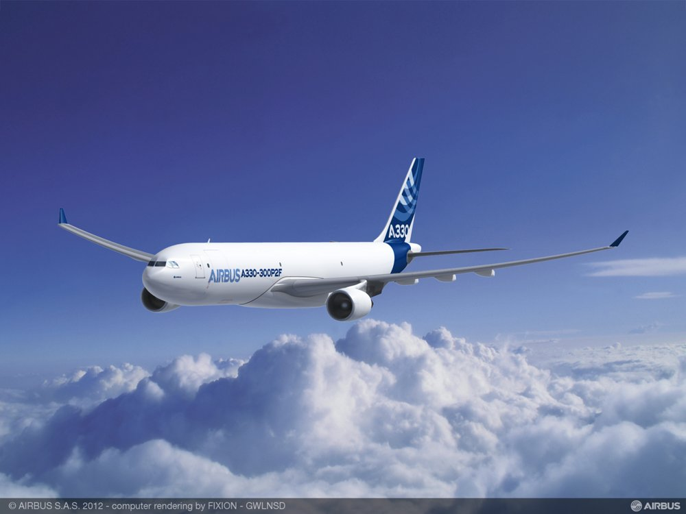 A computer rendering of Airbus' A330-300P2F, a converted freighter aircraft that is particularly suited for integrators and express carriers.