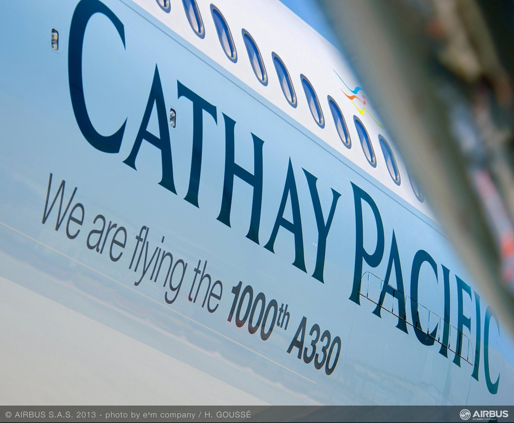 Airbus' delivered the 1,000th A330 Family to Cathay Pacific Airways, which included a special message on the fuselage for this milestone commercial aircraft.