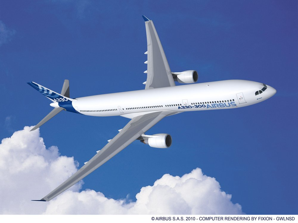 A computer rendering of the A330-300 in Airbus' blue and white livery