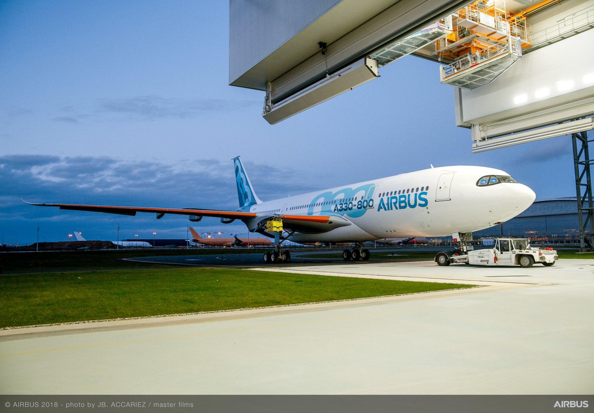 A330-800 rolling out of paintshop
