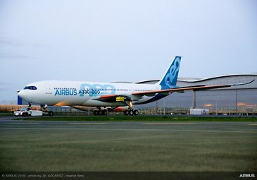 A330-800 taxiing following paintshop roll-out