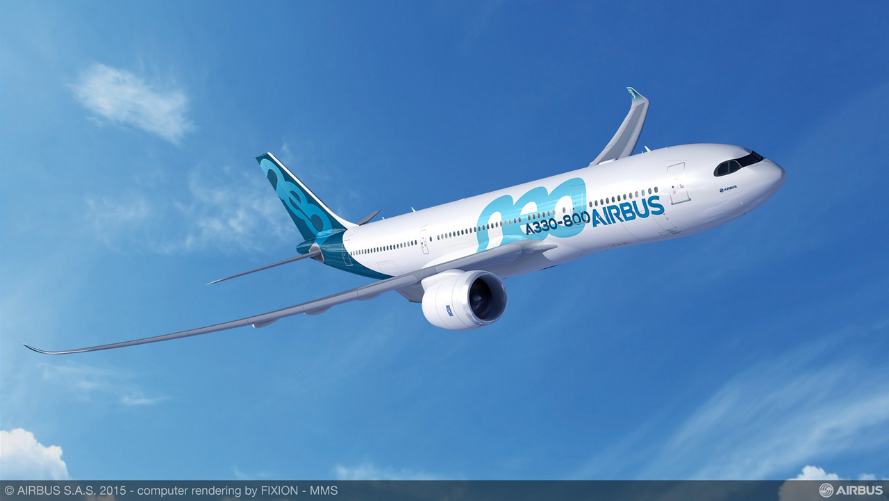 Airbus' A330-800 jetliner features Rolls-Royce Trent 7000 engines, along with new Sharklet wingtip devices and state-of-the-art cabin innovations that also are applied on the A350 XWB