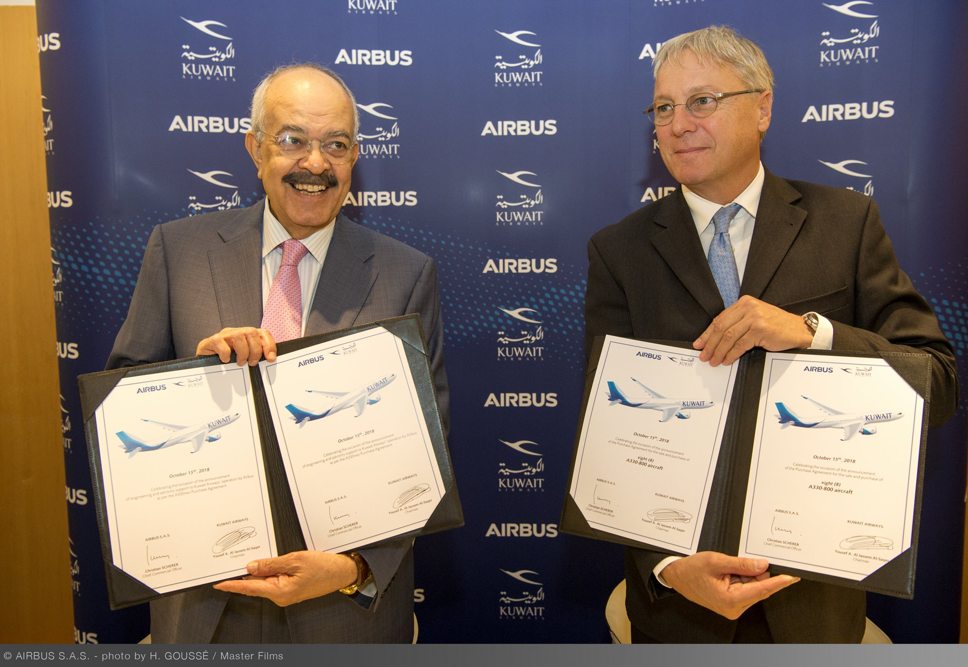 Kuwait Airways' purchase agreement for eight A330-800 aircraft was signed in Toulouse, France by Kuwait Airways Chairman Yousef Al-Jassim and Christian Scherer, Airbus Chief Commercial Officer (left to right)