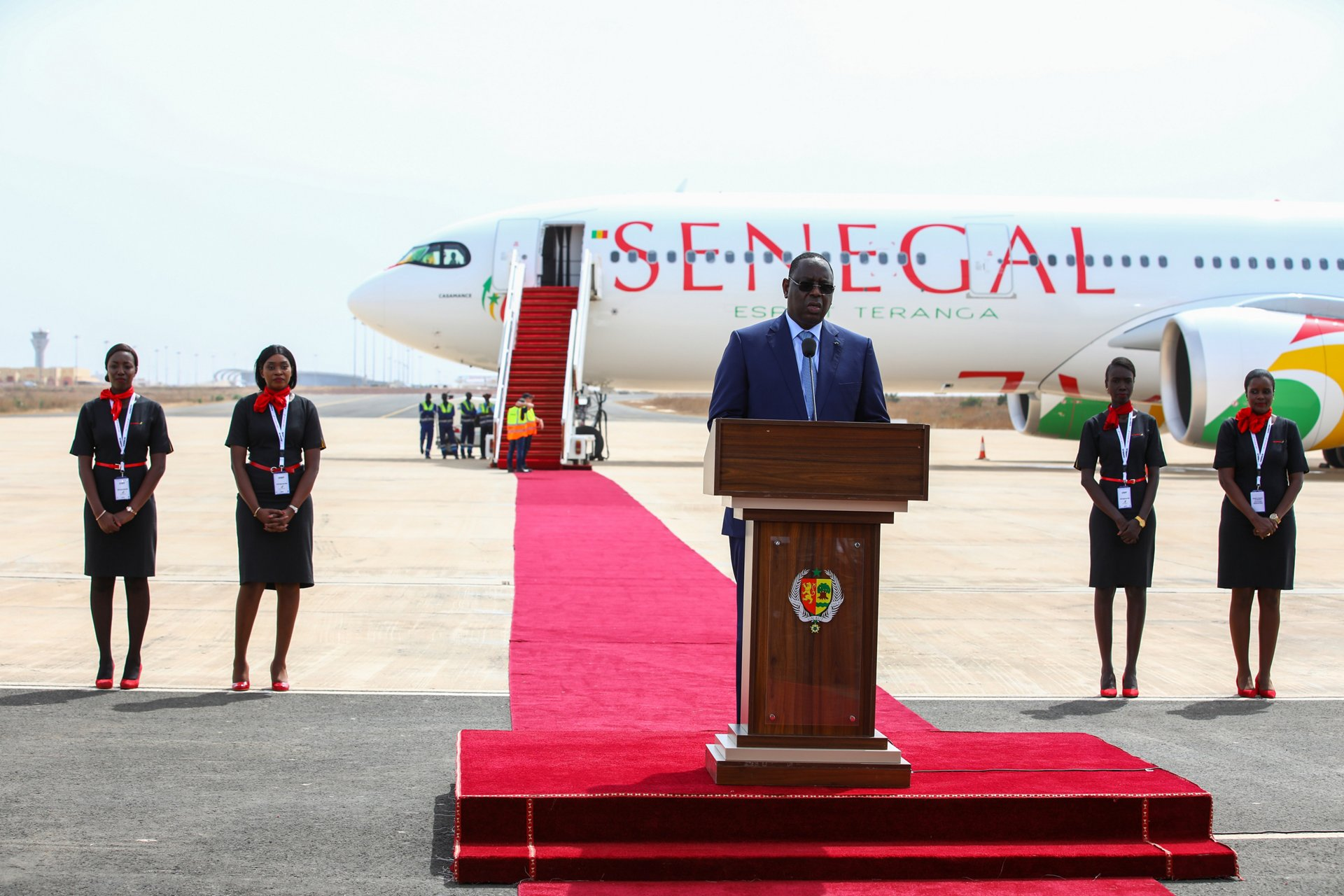 """The initial A330neo for Air Senegal, named """"Casamance,"""" was presented during a ceremony at Blaise-Diagne International Airport in Dakar attended by Macky Sall, President of the Republic of Senegal"""