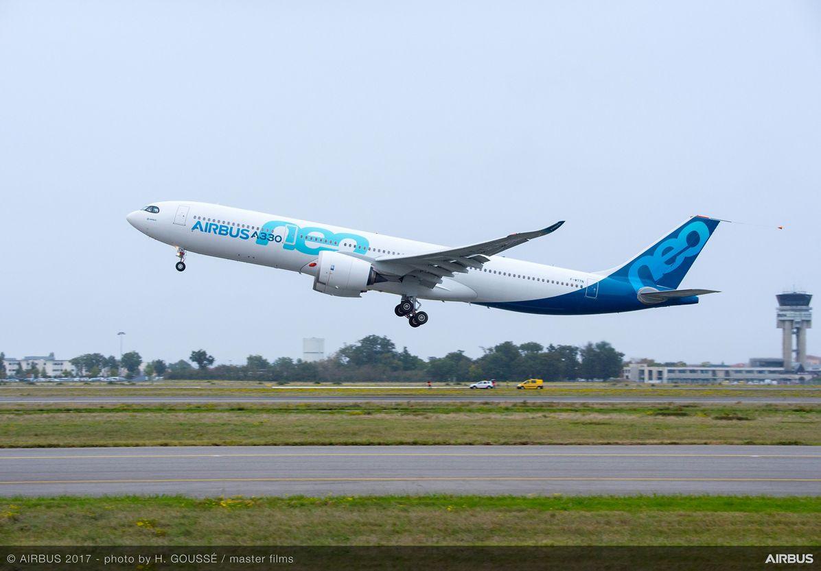 A330neo first flight takeoff