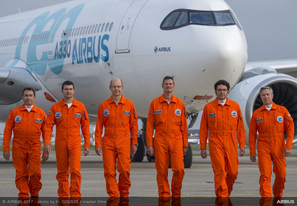 A330neo First Flight pilots and engineers 2