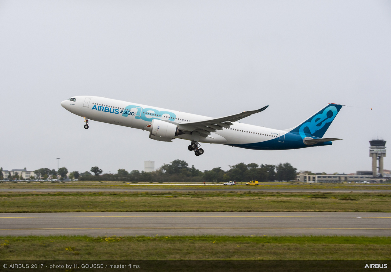 The first A330neo took off this morning at Blagnac in Toulouse, France at 09.57 hrs local time, for its maiden flight taking place over south-western France