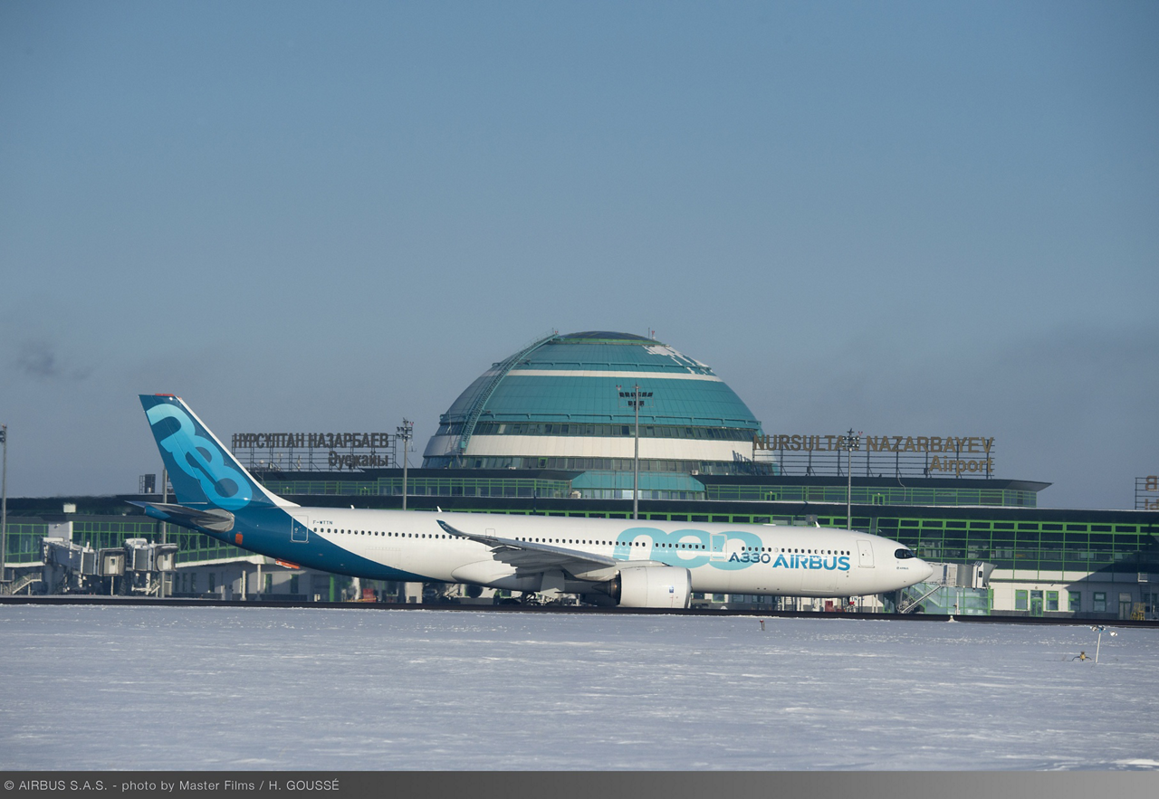 The A330neo's flight testing included cold weather validations in Kazahkstan, where temperatures were as low as -27° C.