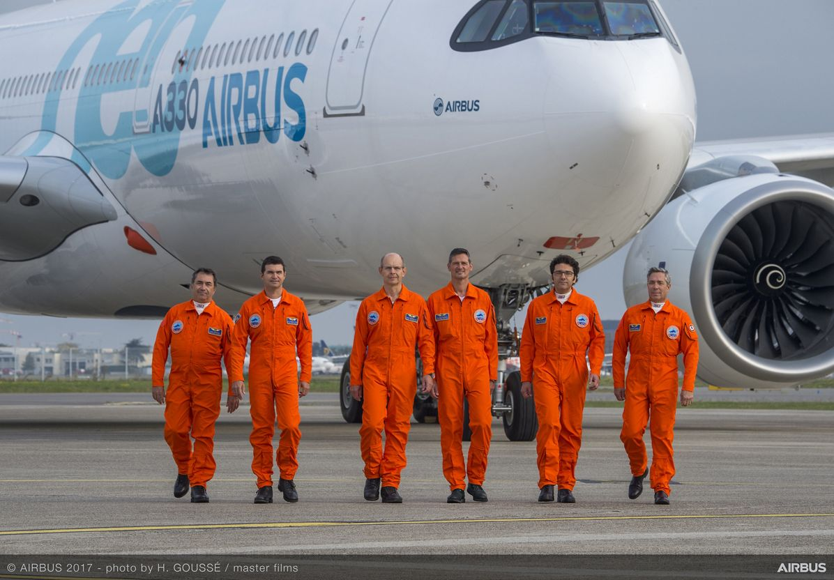 A330neo First Flight pilots and engineers 3