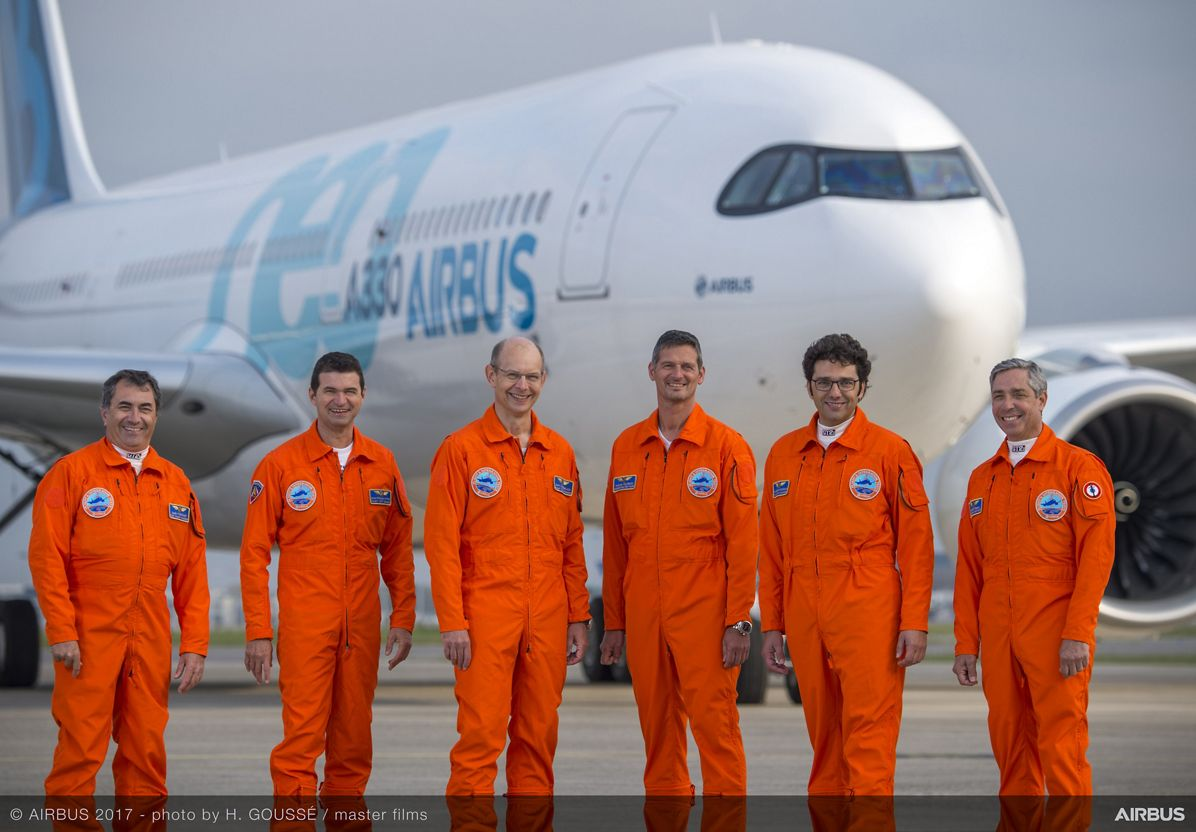 A330neo First Flight pilots and engineers 1