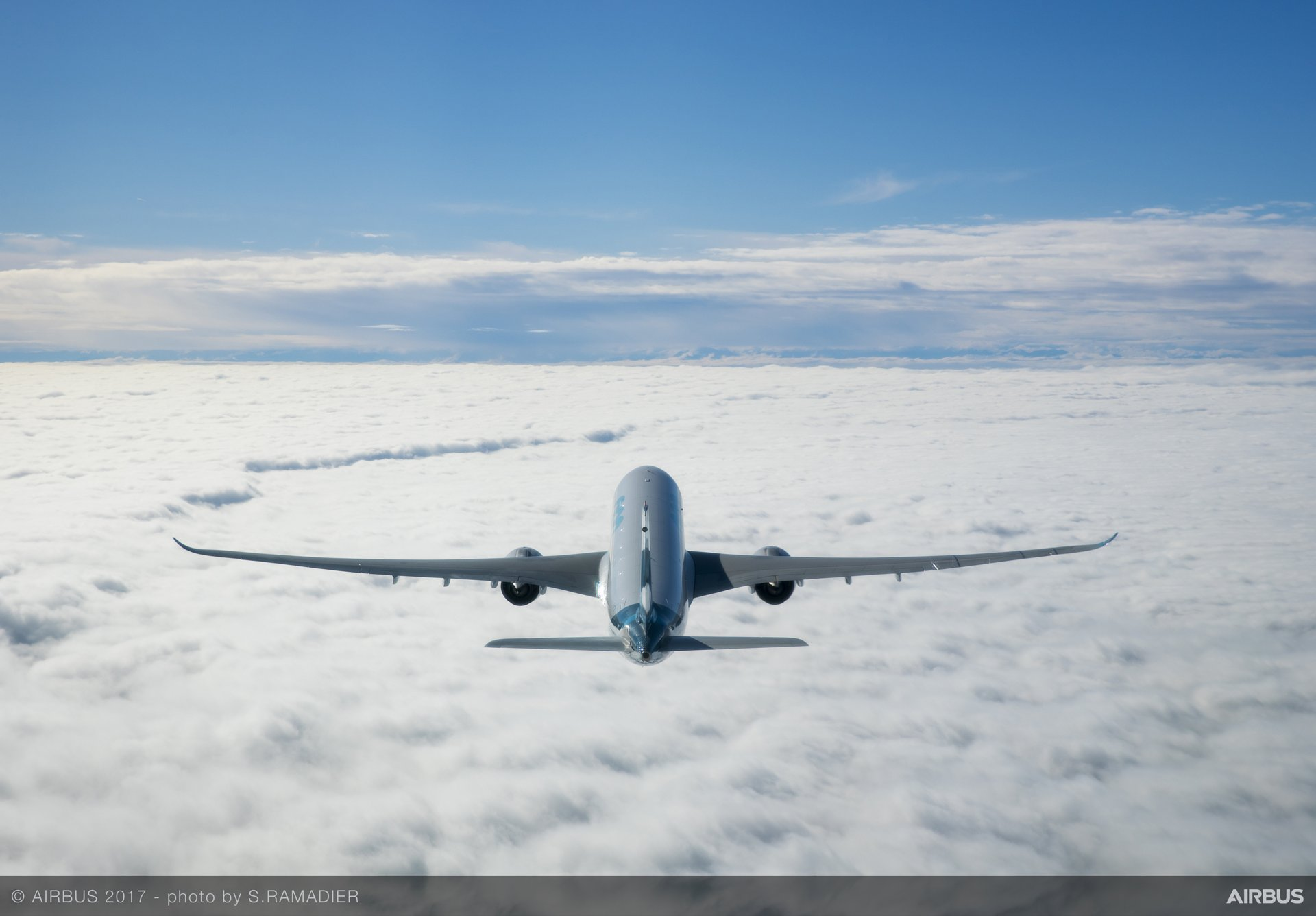 The first of three A330neo Family development aircraft to fly – MSN1795, an A330-900 variant – is shown during its high-profile maiden flight performed 19 October 2017