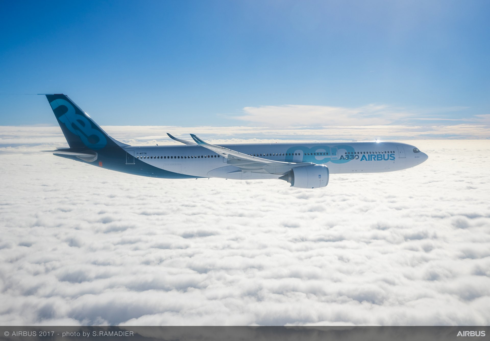 Side view of an Airbus A321neo commercial aircraft in flight.