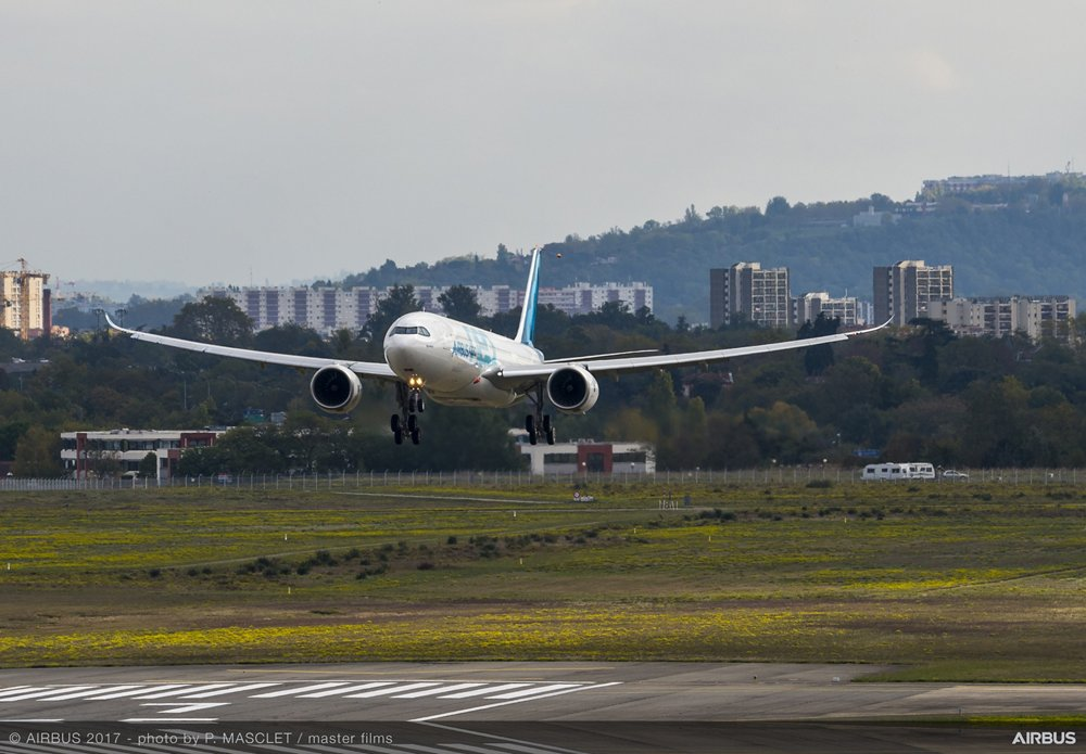 The no. 1 A330neo performed its first flight from Toulouse-Blagnac Airport in southwestern France, which is home to final assembly lines for Airbus' A350 XWB, A330, A380 and A320 Family jetliners