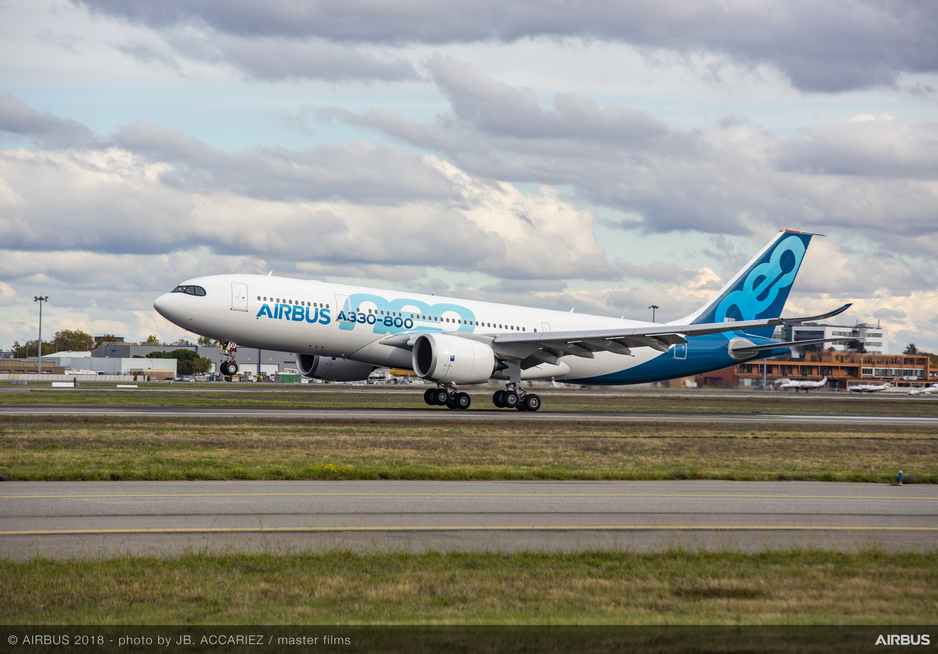 The A330-800 lands at Toulouse-Blagnac Airport in southwestern France, at 2:35 p.m. local time, after a successful first flight