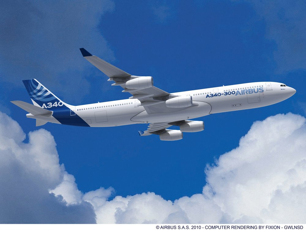 A computer rendering of Airbus' A340-300 with engines supplied by CFM International