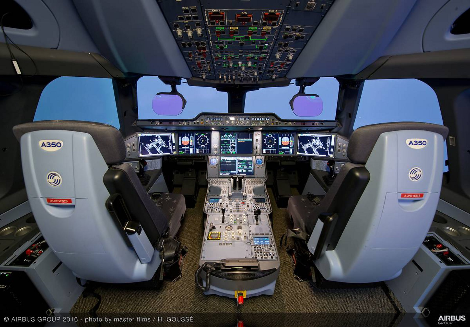 The 10 flight simulators at Airbus' Saint-Martin campus in Toulouse, France – such as this one for an A350 XWB widebody jetliner – are kept busy as testers validate new systems and upgrades to existing ones