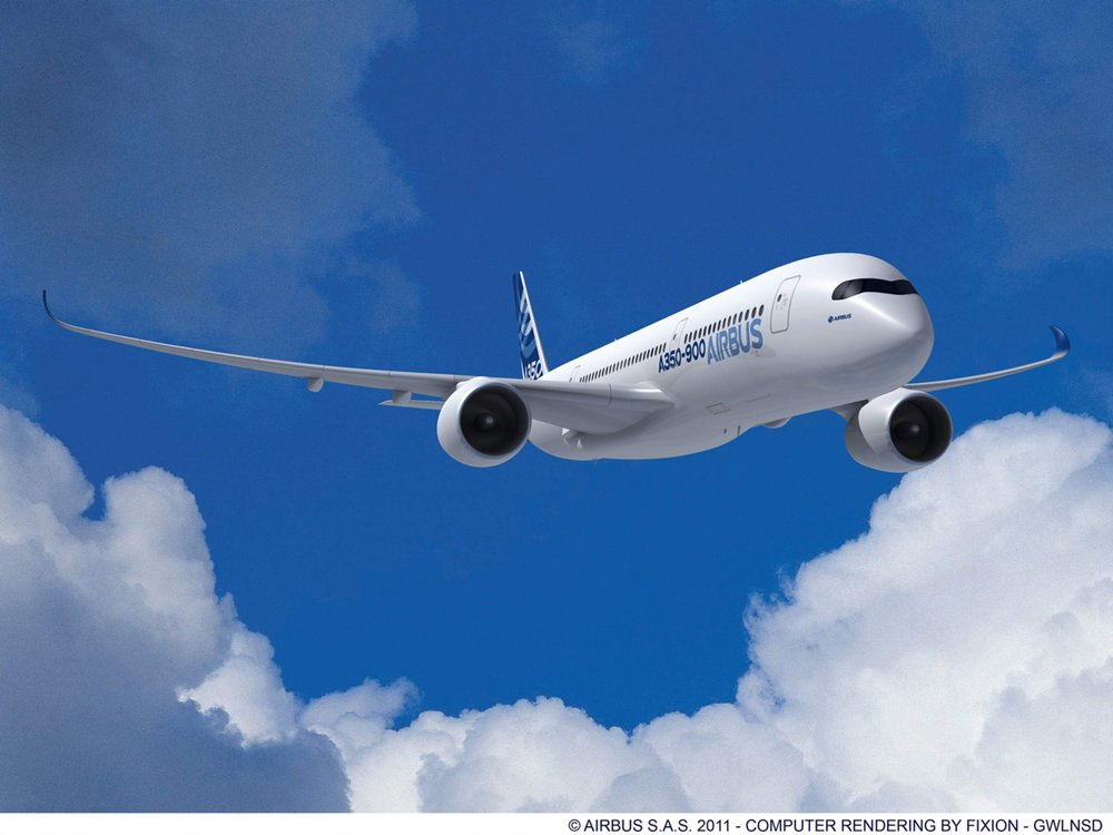 A computer rendering of Airbus' A350 XWB widebody commercial aircraft in flight.