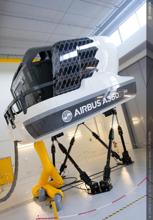A350 XWB full-flight simulator nears airline training operations in Toulouse. -