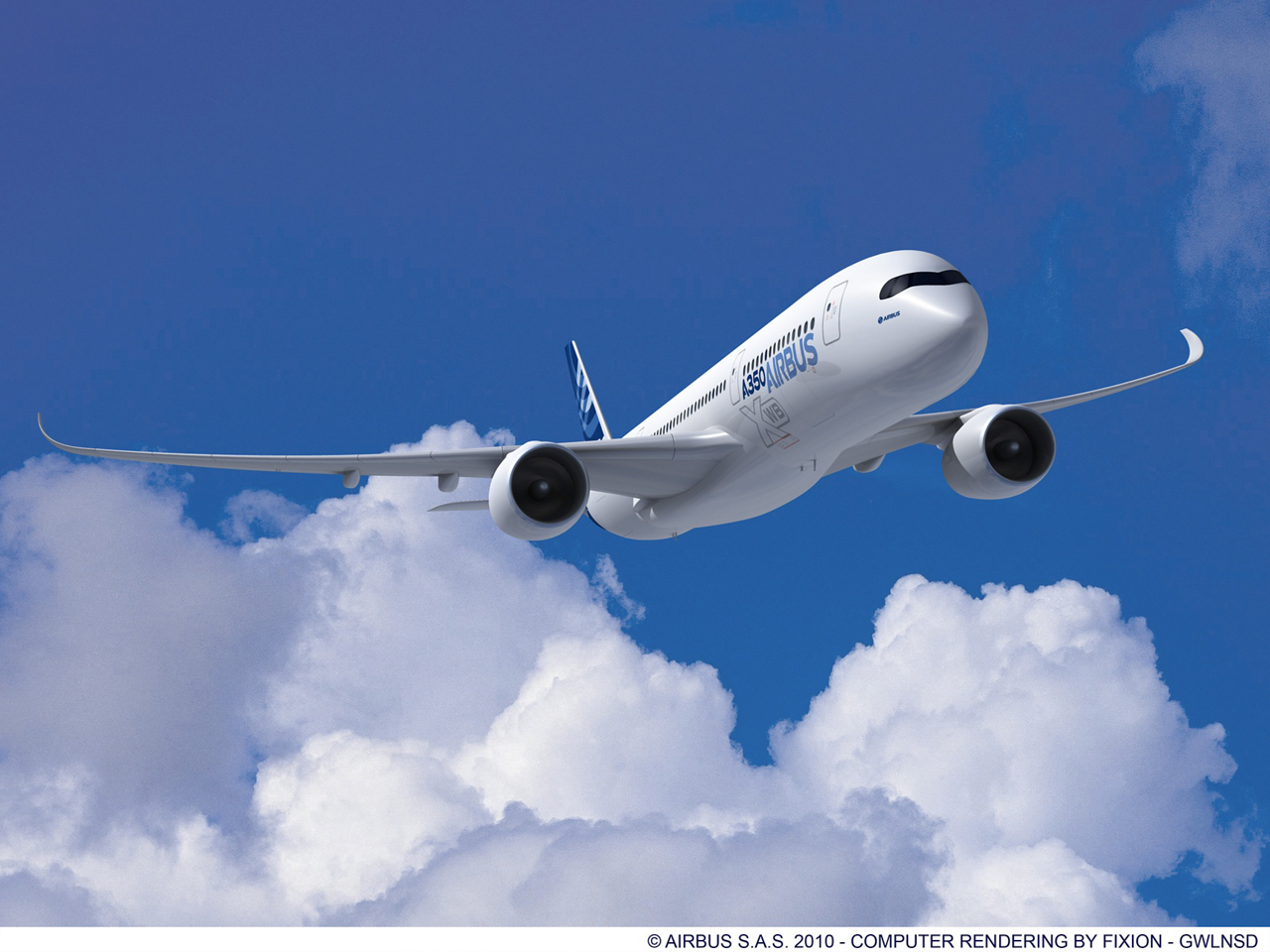 The Airbus A350 XWB in flight, with RR engines. Shaping efficiency.