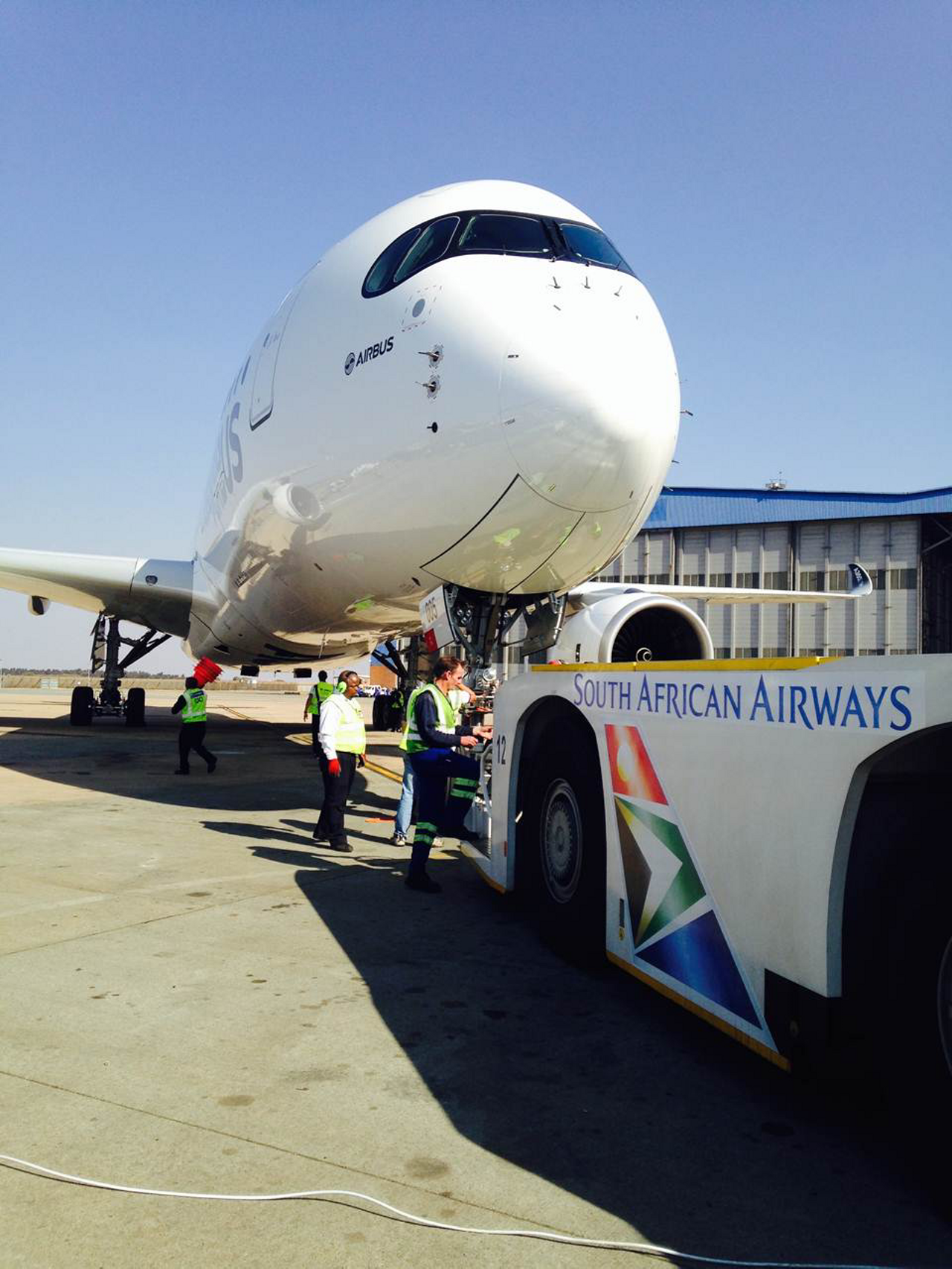 """Airbus' A350 XWB made its African """"debut"""" at O.R. Tambo International Airport in Johannesburg, South Africa as part of the third leg in its four-trip worldwide route-proving campaign to demonstrate this highly efficient jetliner's readiness for airline operations -"""
