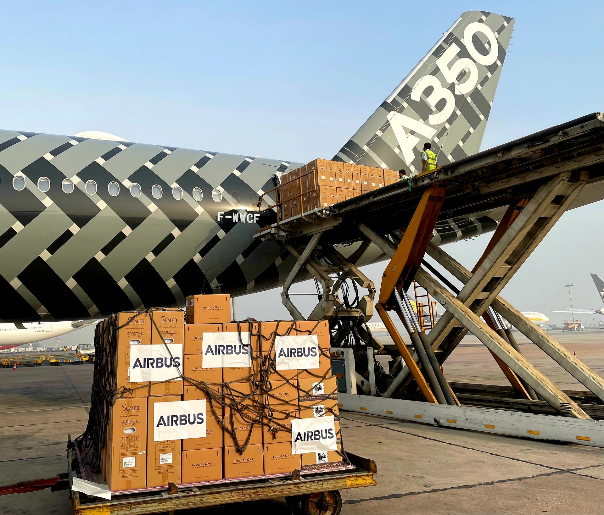 Airbus delivered a consignment of 250 oxygen concentrators and 30 ventilators as part of a 36-tonne Covid-19 solidarity mission to India on Wednesday, June 2, 2021. An A350 test flight ferried the cargo from Toulouse, the headquarters of Airbus, to New Delhi.