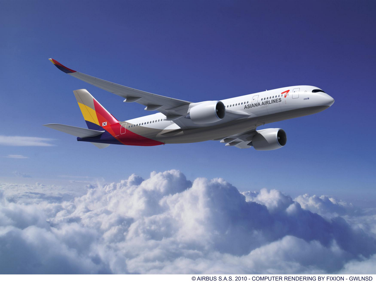 Asiana Airlines of South Korea has signed a contract with Airbus for the purchase of 30 A350 XWB aircraft, plus 10 options. The airline will take a combination of all three variants of the A350. Here the A350-800.