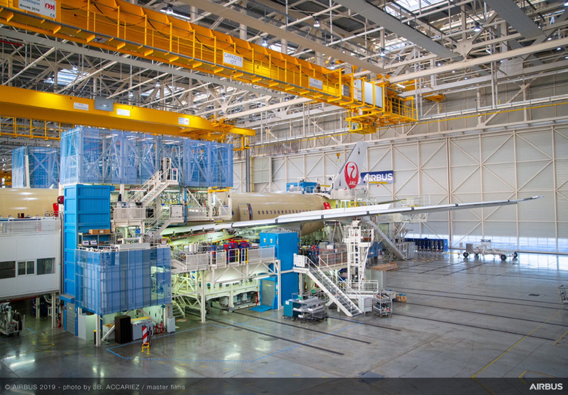 The original A350 XWB for Japan Airlines (the carrier ordered 31 aircraft from the Family) takes shape at the assembly facility in Toulouse, France