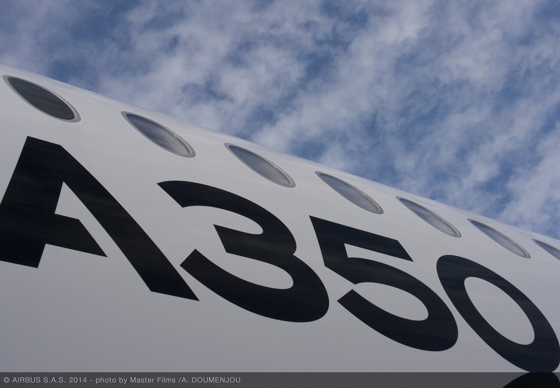 A350 XWB ROUTE PROVING TRIP 3 - SANTIAGO - FUSELAGE CLOSE UP, A350 XWB route proving close up