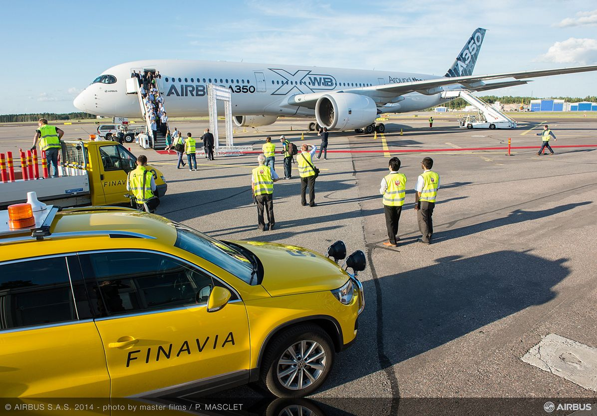 A350 XWB ON THE GROUND AT THE AIRPORT OF HELSINKI, A350 XWB route proving Helsinki airport